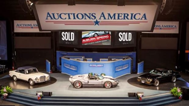 The top three sales of Auctions America's Auburn Spring collector car weekend (Left to right - 1971 Mercedes-Benz 280 SE 3.5 Cabriolet, 2006 Ford GTX1 TT 'Spyder', 1987 Buick GNX). (Photo Credit: Mark Byler © 2015 Courtesy Auctions America.)