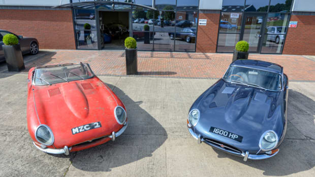 E-Type Roadster Chassis No 850092 (left) and E-Type Coupe Chassis No 860005 (right) left Jaguar's factory in 1961, reunited today at CMC