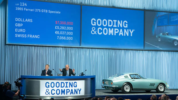 President David Gooding and Auctioneer Charlie Ross sell the 1965 Ferrari 275 GTB Speciale for $8,085,000. Image copyright and courtesy of Gooding & Company. Photo by Jensen Sutta.