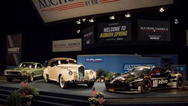 A snapshot of top sales at Auctions America's 2017 Auburn Spring event, including the 1968 Shelby GT 500KR Fastback, the 1941 Packard One-Eighty Convertible Victoria, and the top-selling 2012 Ferrari 458 GTD Race Car.