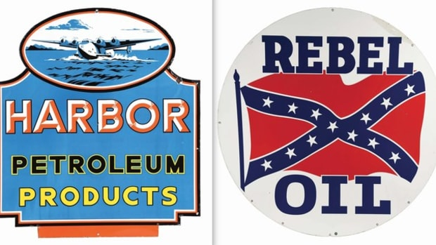 Circa-1940s Harbor Petroleum sign, Rebel Oil double-sided sign. Images Morphy Auctions