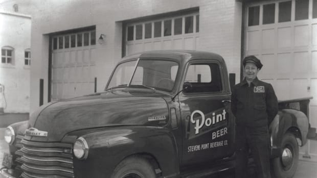 Mike Mansavage, a Stevens Point Brewery employee from 1933-1976, with the 1949 Chevy 3600 pickup. The Stevens Point Brewery is the third-oldest continuously operating, privately owned brewery in the United States.