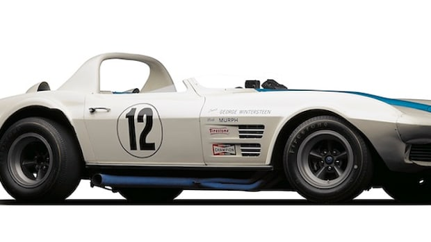 The 1963 Grand Sport Corvette, driven by George Wintersteen, and residing at Simeone Foundation Automotive Museum.