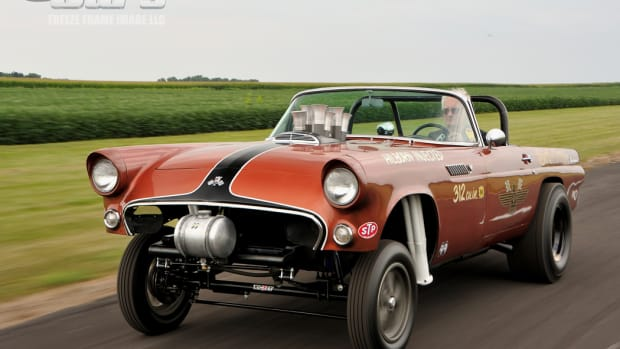 """The """"Bird of Prey"""" 1955 T-Bird gasser features a hand-crafted NicKey sub-frame straight-axle kit with coil-over shock absorbers and ladder bars."""