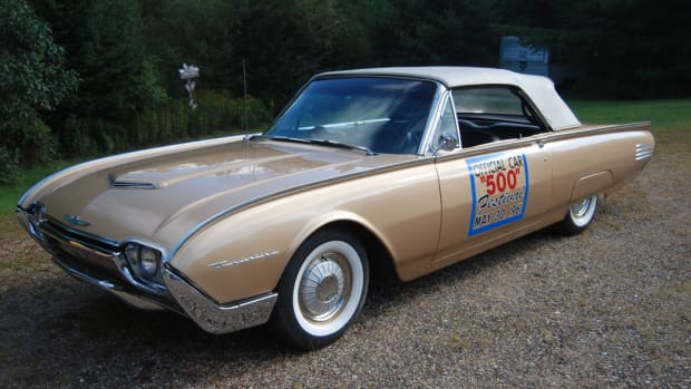 Tim Natarus owns this beautiful 1961 T-Bird Indy Pace Car. On these cars, white convertible tops set off a special shade of gold metallic paint.