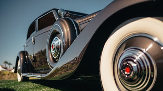 """A 1935 Duesenberg JN Bojangles Sports Sedan from the collection of Rob Hilardes of Visalia, California, on display at the 2019 Las Vegas Concours d'Elegance. One of only three 1935 Duesenberg JN models produced, this car was originally owned by the famous dancer Bill """"Bojangles"""" Robinson, who purchased it for roughly $17,000 in 1935."""