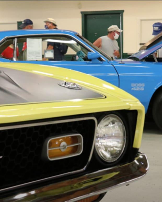 Mustangs on display