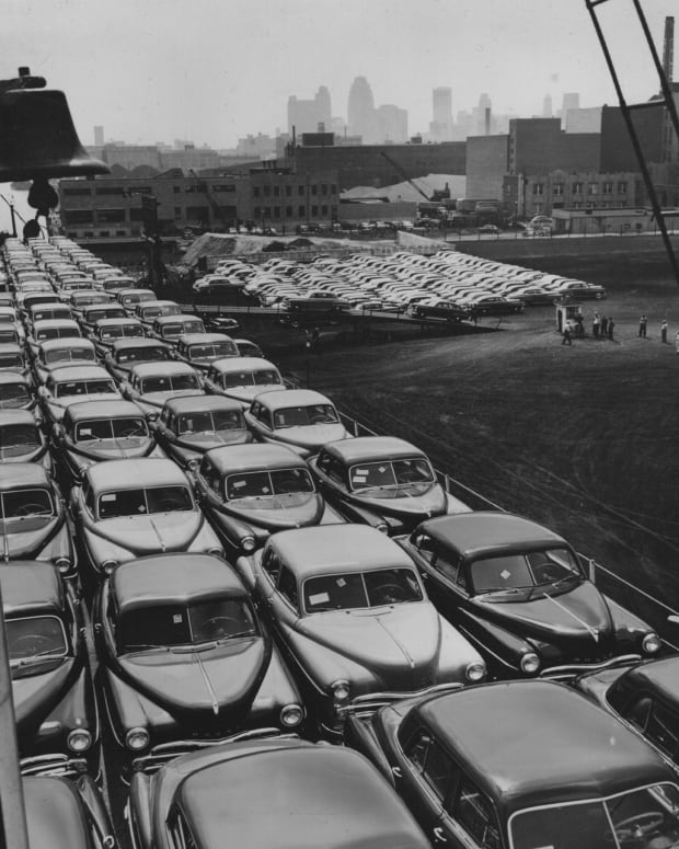 A small portion of Dodge's 1950 model-year production is loaded onto a Great Lakes steamer in this press photo from the automaker's Detroit-based ad agency, Ruthrauff & Ryan. More than 500 cars were loaded onto the ship  destined for Buffalo, N.Y., to be delivered to dealers along the eastern seaboard.
