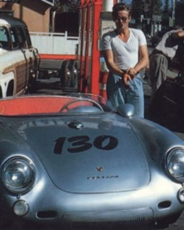 This photo is widely believed to be one of the last taken, within hours of actor James Dean's death while driving the Porsche on Sept. 30, 1955.