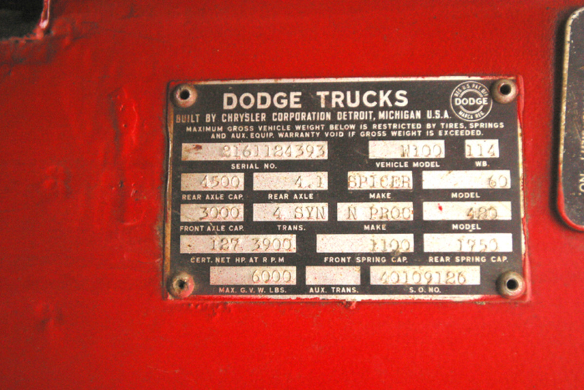 The Power Wagon's fender tag lays out many stats.