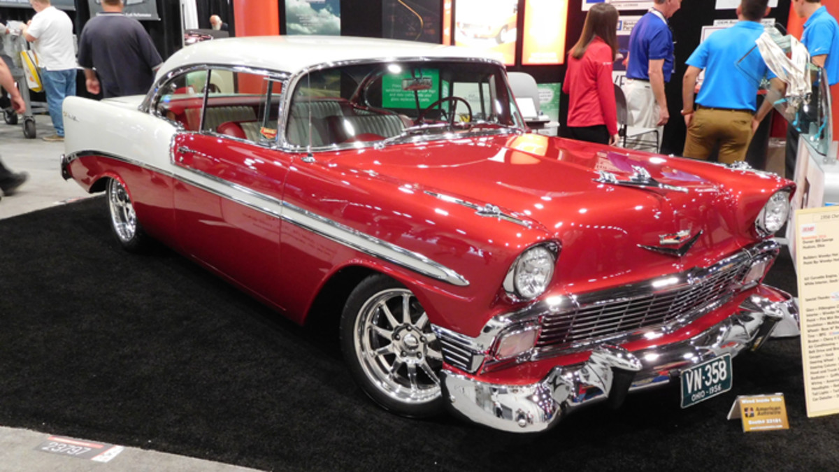 A slightly customized 1956 Chevy Bel Air hardtop attracted attendees into American Autowire's booth at a past SEMA show.