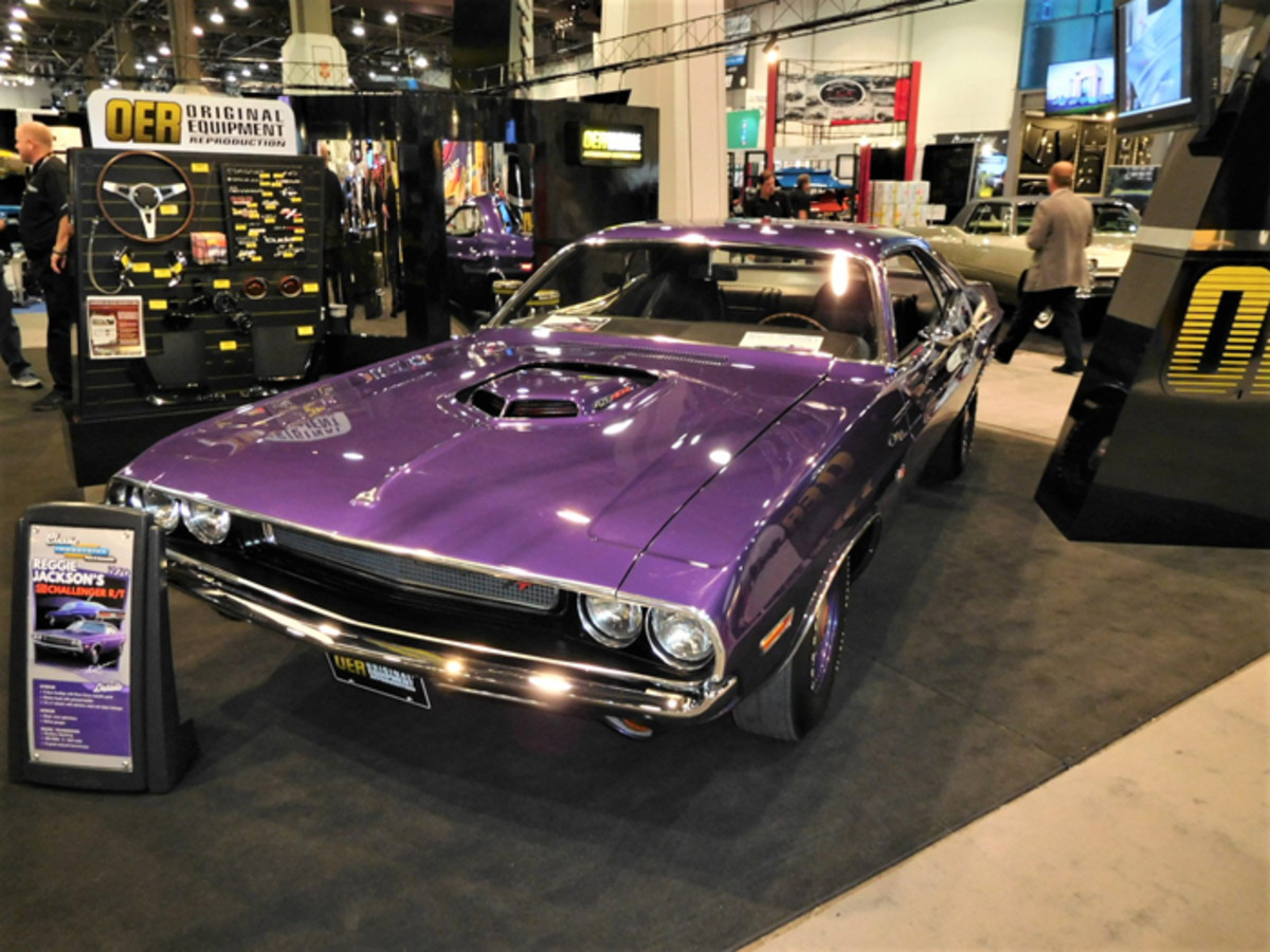 Baseball great Reggie Jackson's Dodge Challenger in the OER booth at SEMA. COVID-19 has affected both baseball and SEMA this year.