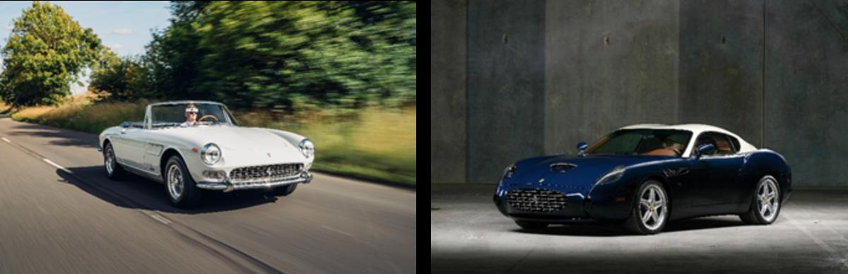 LEFT: 1966 Ferrari 275 GTS RIGHT: 2005 Ferrari 575 GTZ Zagato