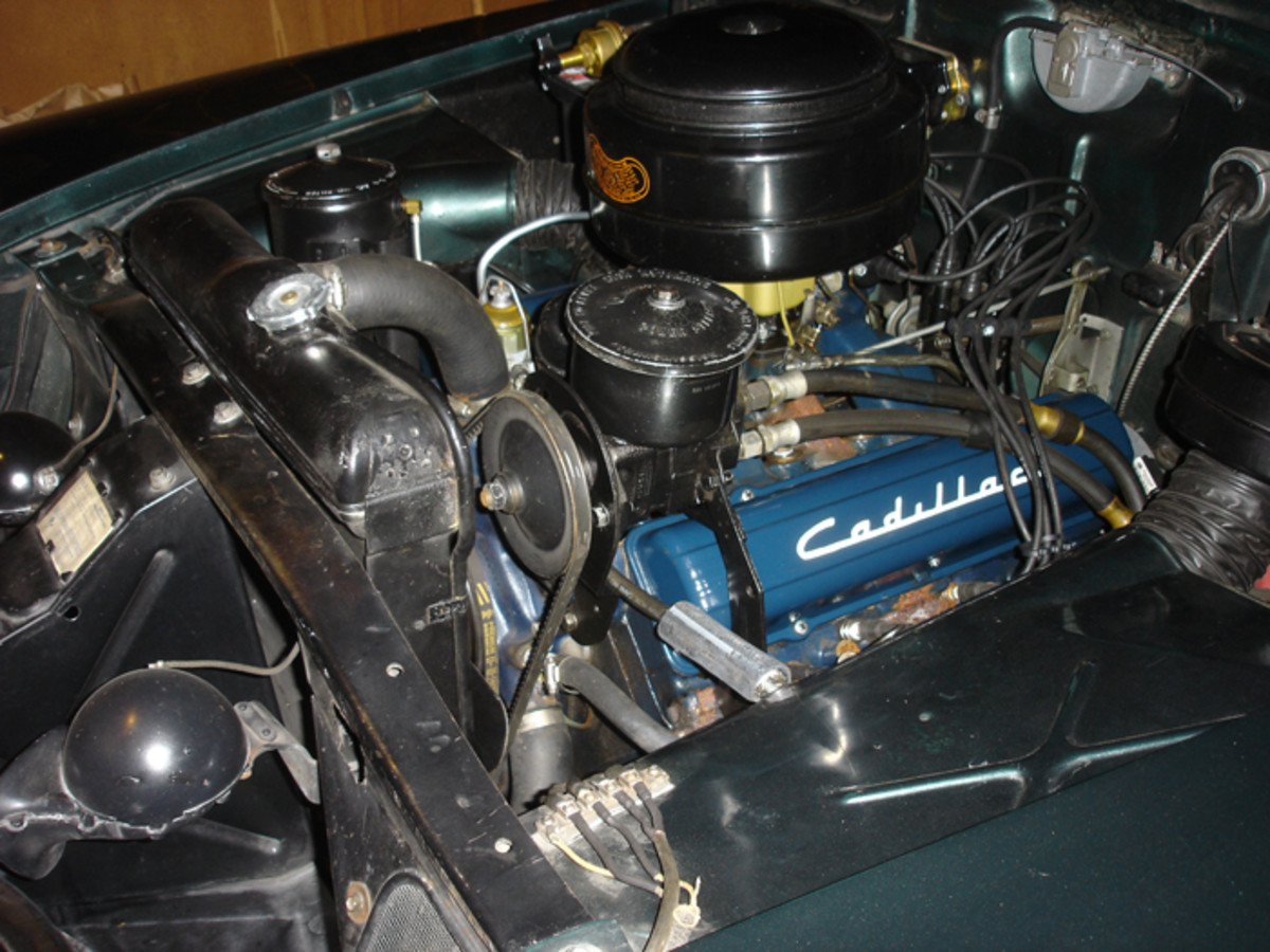 The 331-cid V-8 pumped out 160 hp in 1951. Note the 1952 power steering pump on this car; it is believed to have been added by the dealer that resold the car in 1953.