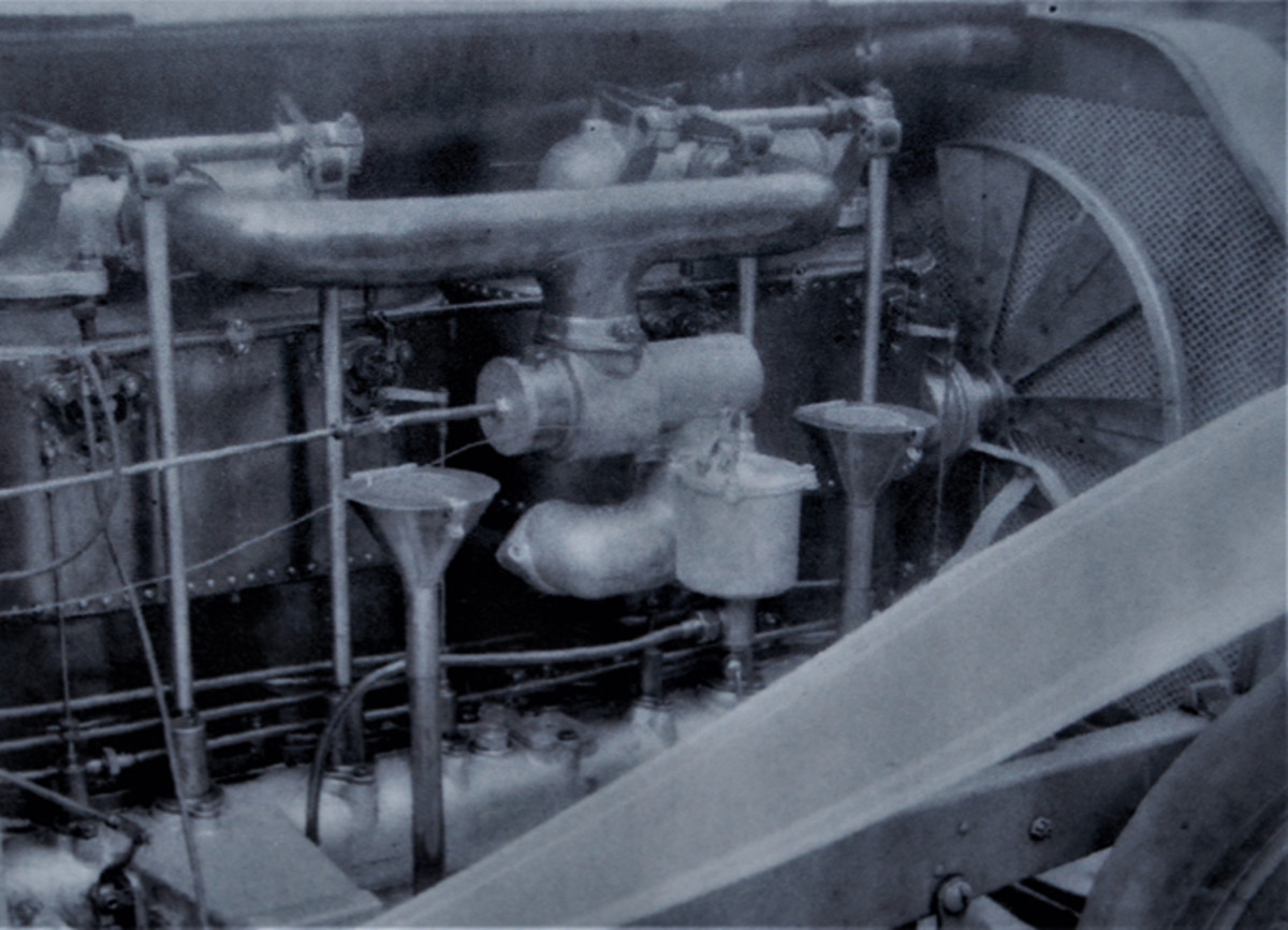 The 990-cid F-head four-cylinder engine was fitted with many brass components.