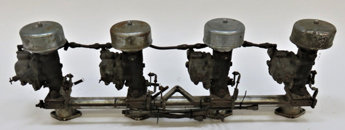 Sotheby's (www.sothebys.com) sold the custom manifold and four Winfield carbs for $850 in 2015.