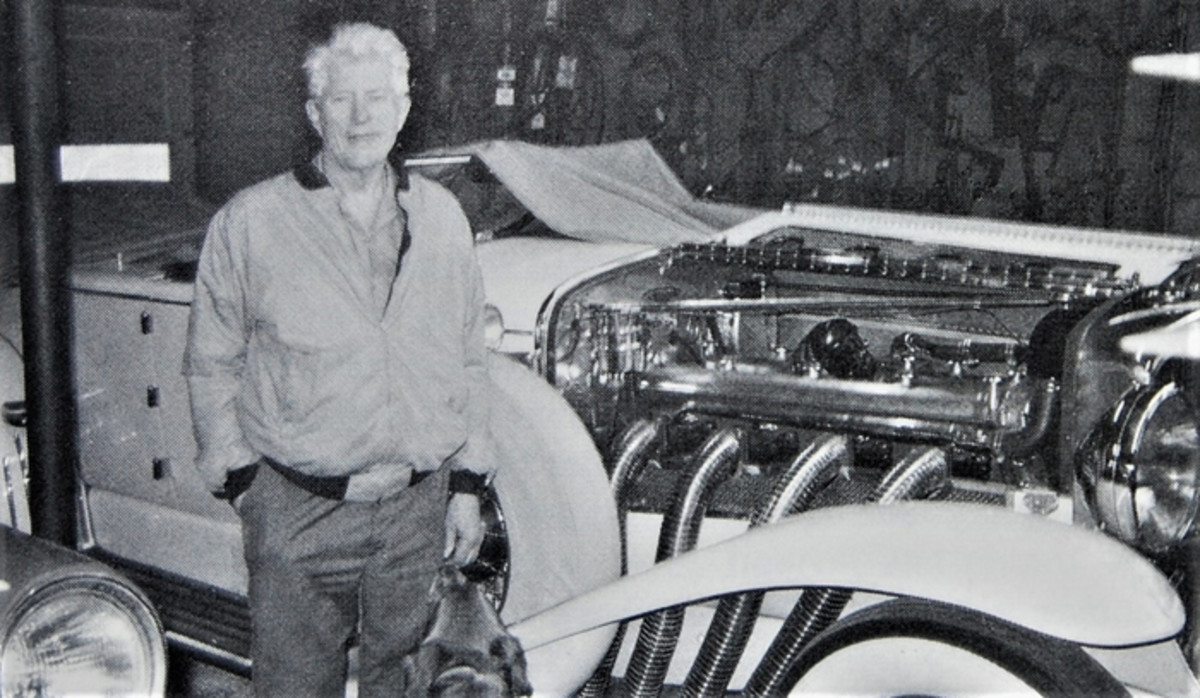 Jim Hoe with one of the many Duesenbergs he worked on.