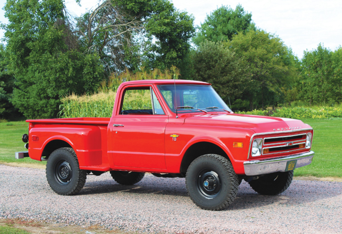 The K10 was much less common than its two-wheel-drive S10 sibling in the late 1960s, and the two are often confused for one another. The main difference, of course, is that the K10 is equipped with factory four-wheel-drive and sits slighty higher. Both trucks were offered as Step-Side and Fleetside models in 115- and 127-inch wheelbases. This shortbed Step-Side is one of just 1,706 built that year.