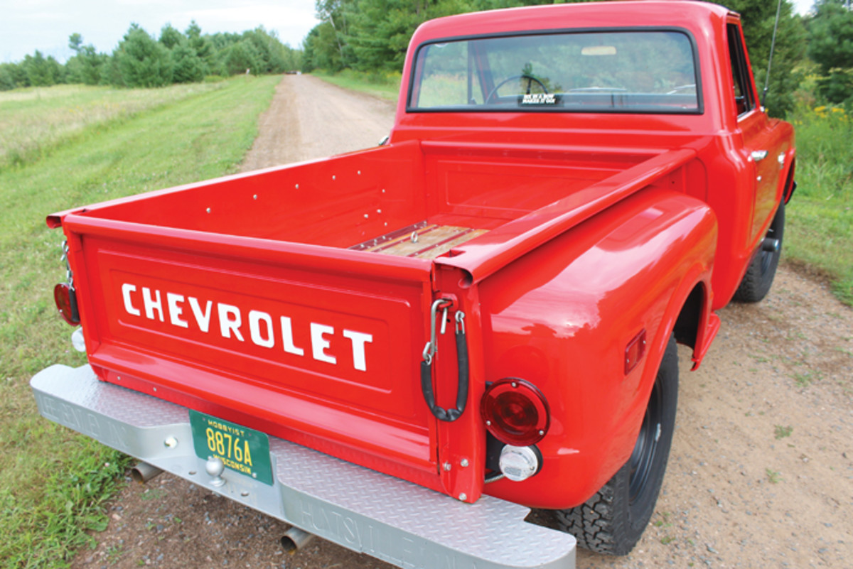 Nick Dassow brought his 1968 Chevrolet K10 4x4 pickup back to showfield condition gradually over the course of 10 years. The rear bumper on this truck is a custom touch from an earlier model Chevy truck, but the rest of this wonderful truck is largely stock, with much of the interior featuring upscale Deluxe details.