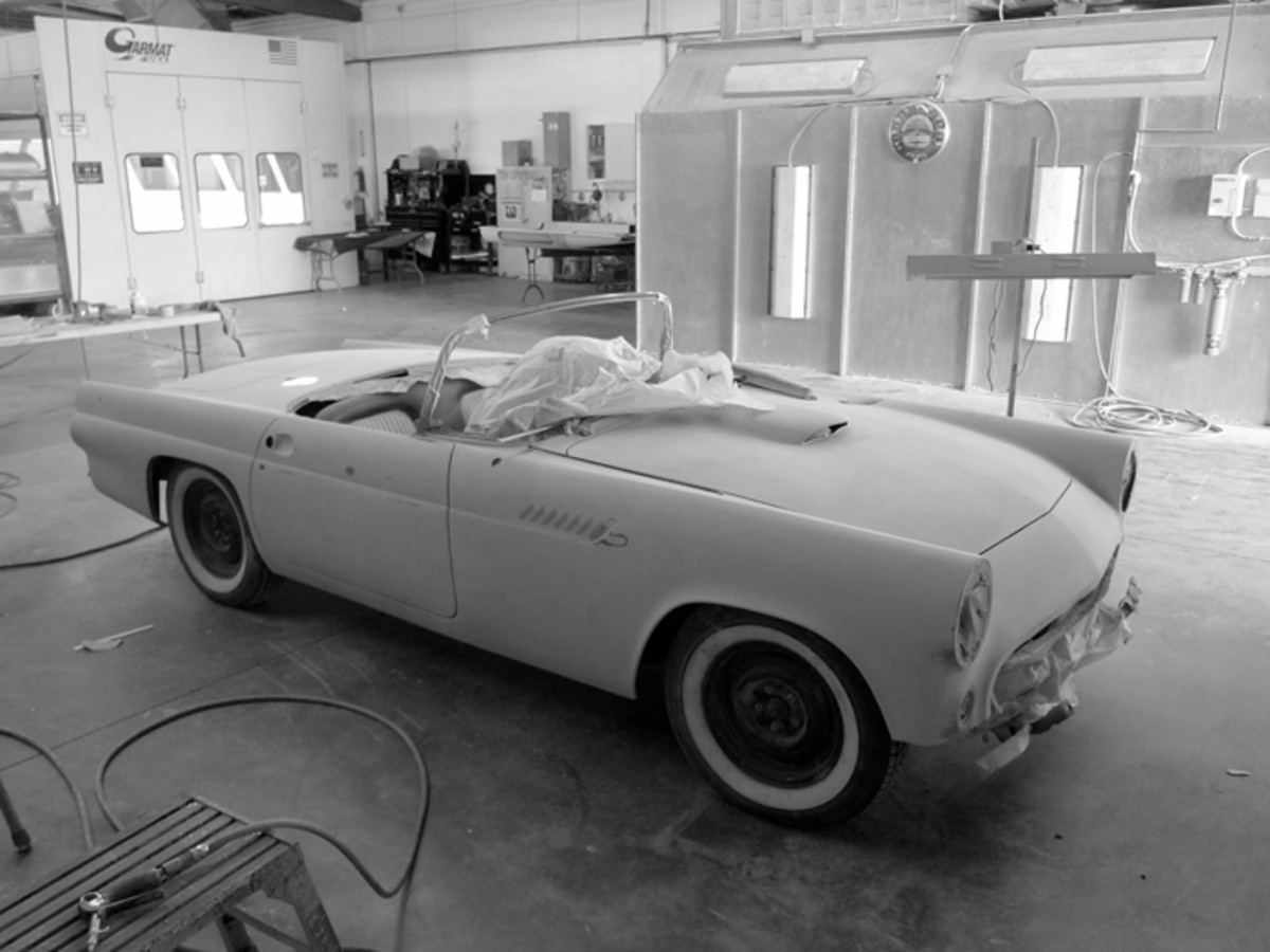 Here in the body 'n' paint department, this early 'Bird looks like a pretty straightforward restoration job. Bet you can't tell from here, but it'll roll out as a mild custom.
