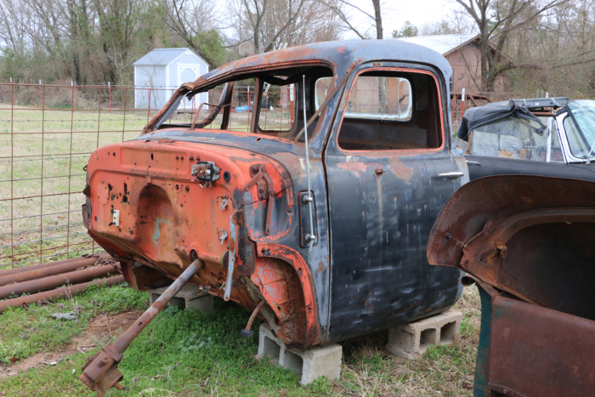 This five-window 1948 Chevrolet cab was nice until a tree limb fell on it. Fortunately, Varnell had taken the corner windows out before that happened, and still has them, and they go with the cab.