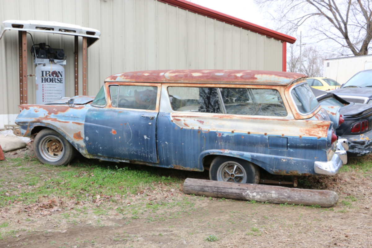 The engine and transmission are gone, the body is beat up and the floors are rusted, but this 1957 Ford Ranch Wagon is still a candidate for restoration.