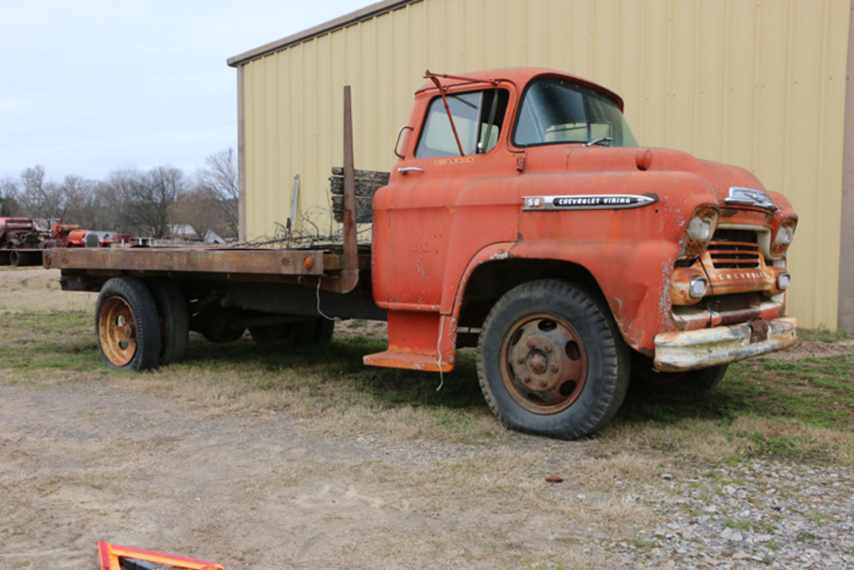 Varnell considered making a car hauler out of this '59 Chevrolet Viking 50, but says it's for sale just like everything else. It has a steel plate extended bed.