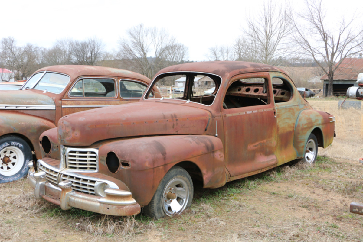 The windows are gone and the floors are rusty, but the grille and body on this rare 1947 Lincoln Club Coupe look good.