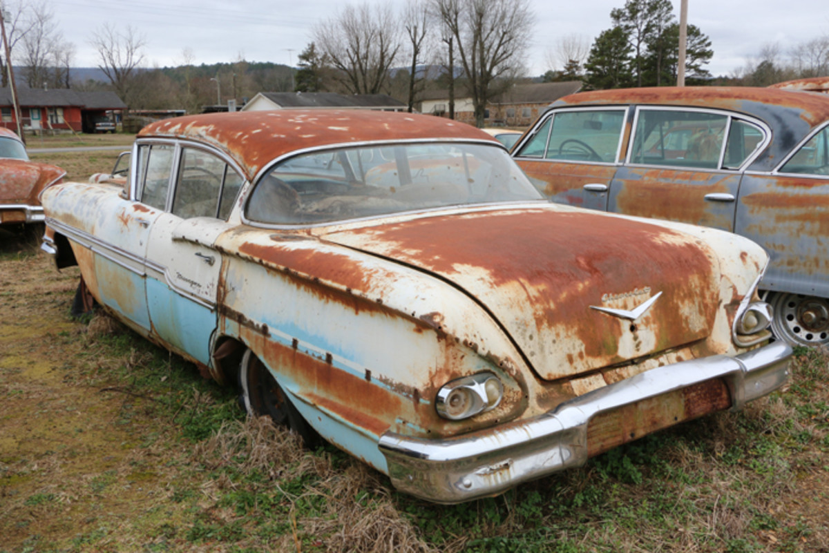 The engine is gone from this 1958 Chevrolet Biscayne and it would probably serve best as a parts car.