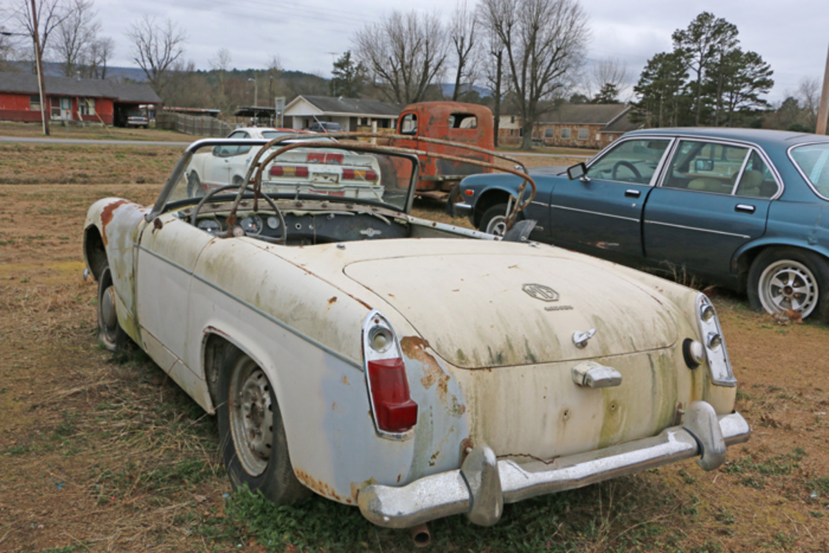 The engine is out of this one-owner 1963 MG Midget, but Varnell has it stored in the shop.