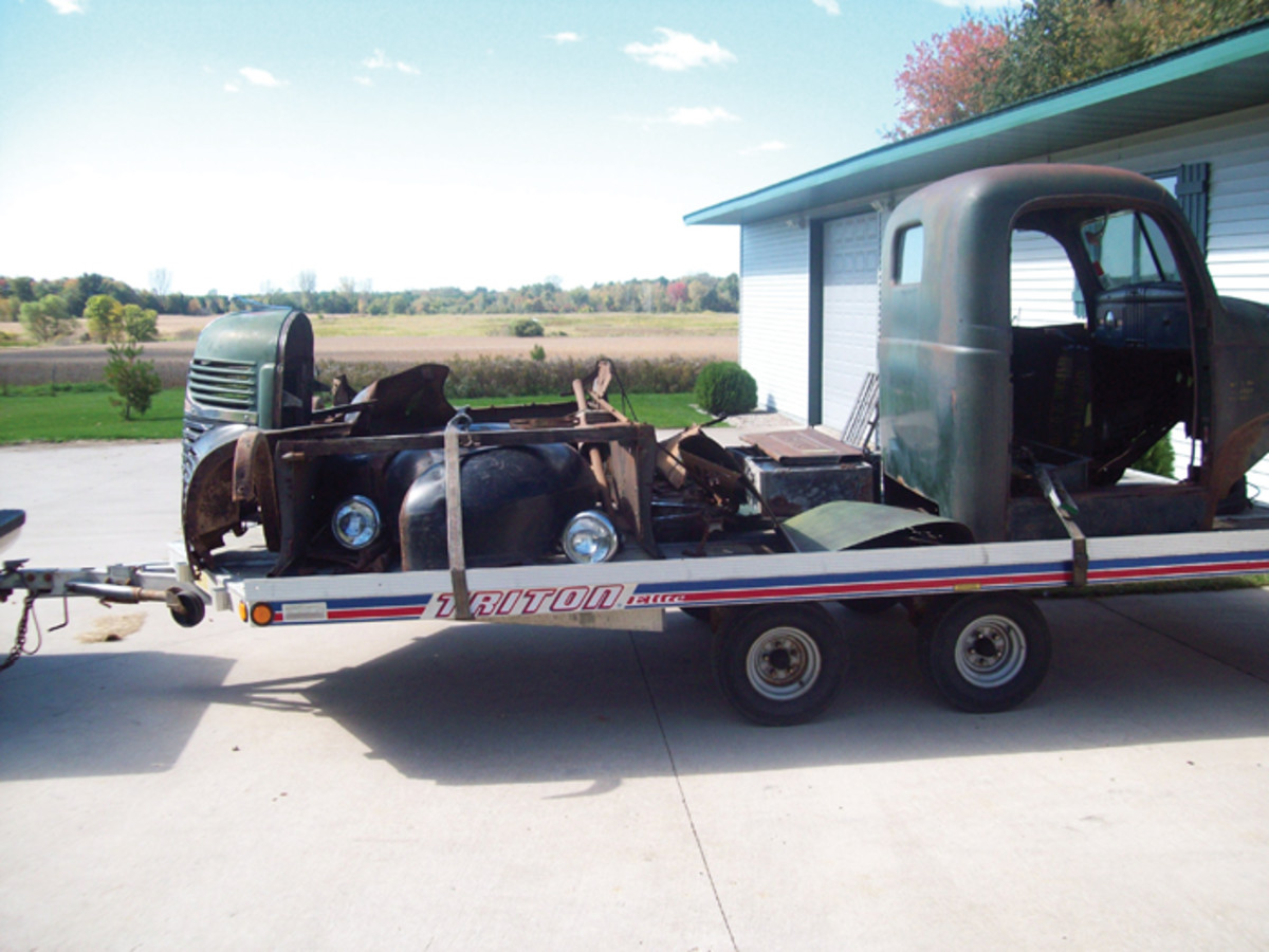 This is what the truck looked like when the second restorer, Mark Seidler, took over. It hadn't run in 30 years, had been disassembled by the previous restorer and arrived in pieces and boxes on a trailer. Restoring it turned out to be a 10-year ordeal, but in this case patience paid off.