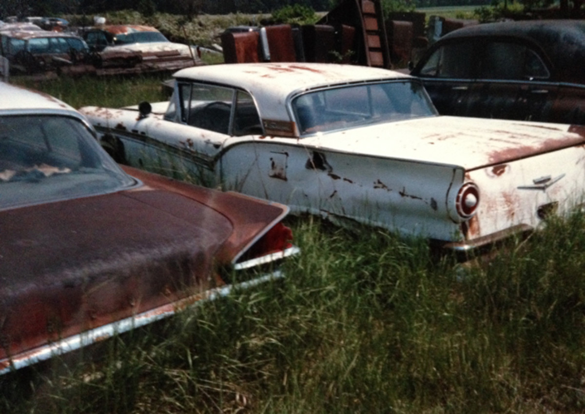 A 1959 Mercury two-door hardtop and a 1957 Ford Skyliner share some real estate. Either would be a great find today.