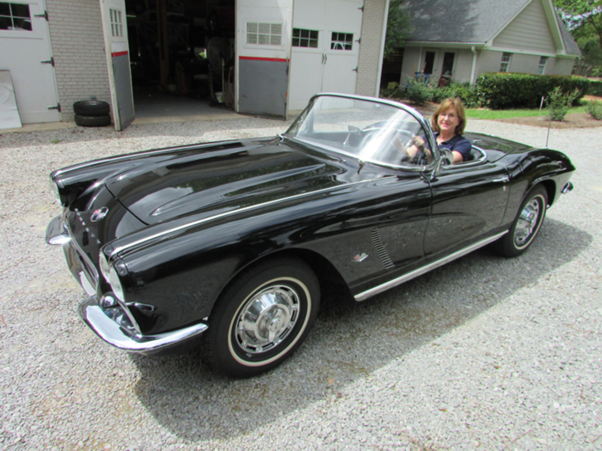 Judy behind the wheel of the finished '62 Corvette.
