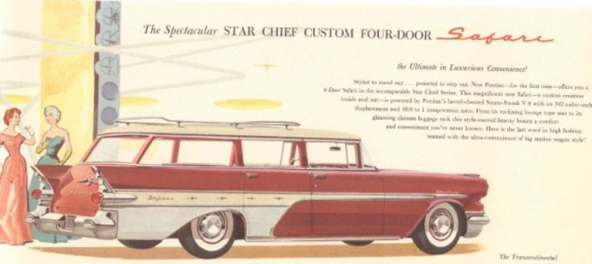 "The Transcontinental Safari station wagon was a late addition to the line and didn't appear in the initial 1957 Pontiac brochure. This later Pontiac document pictured the car; note the headline labels it the Star Chief Custom Safari four-door and at the bottom, its further identified as the ""Transcontinental."""