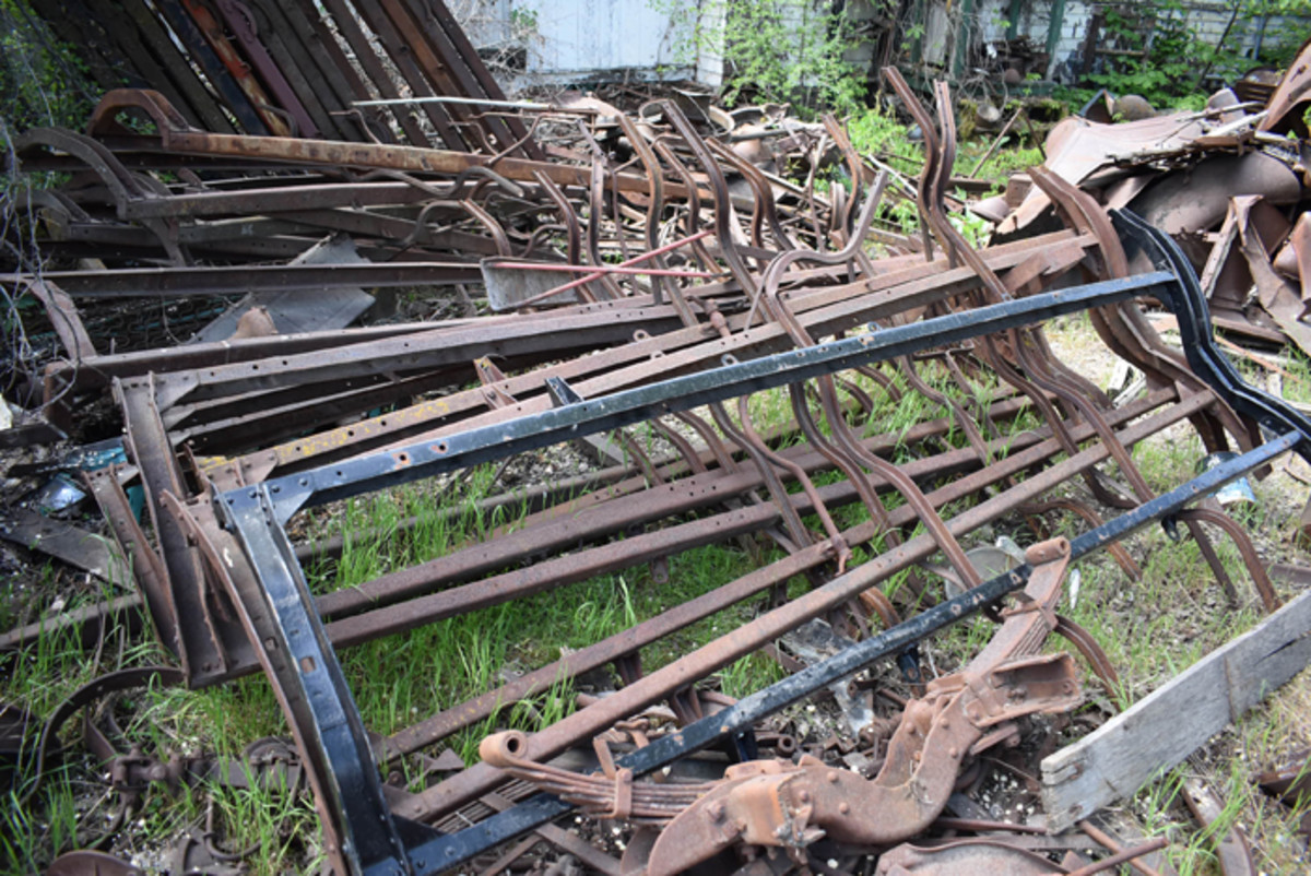 We found stacks of Model T frames ready to serve as the basis for restorations.