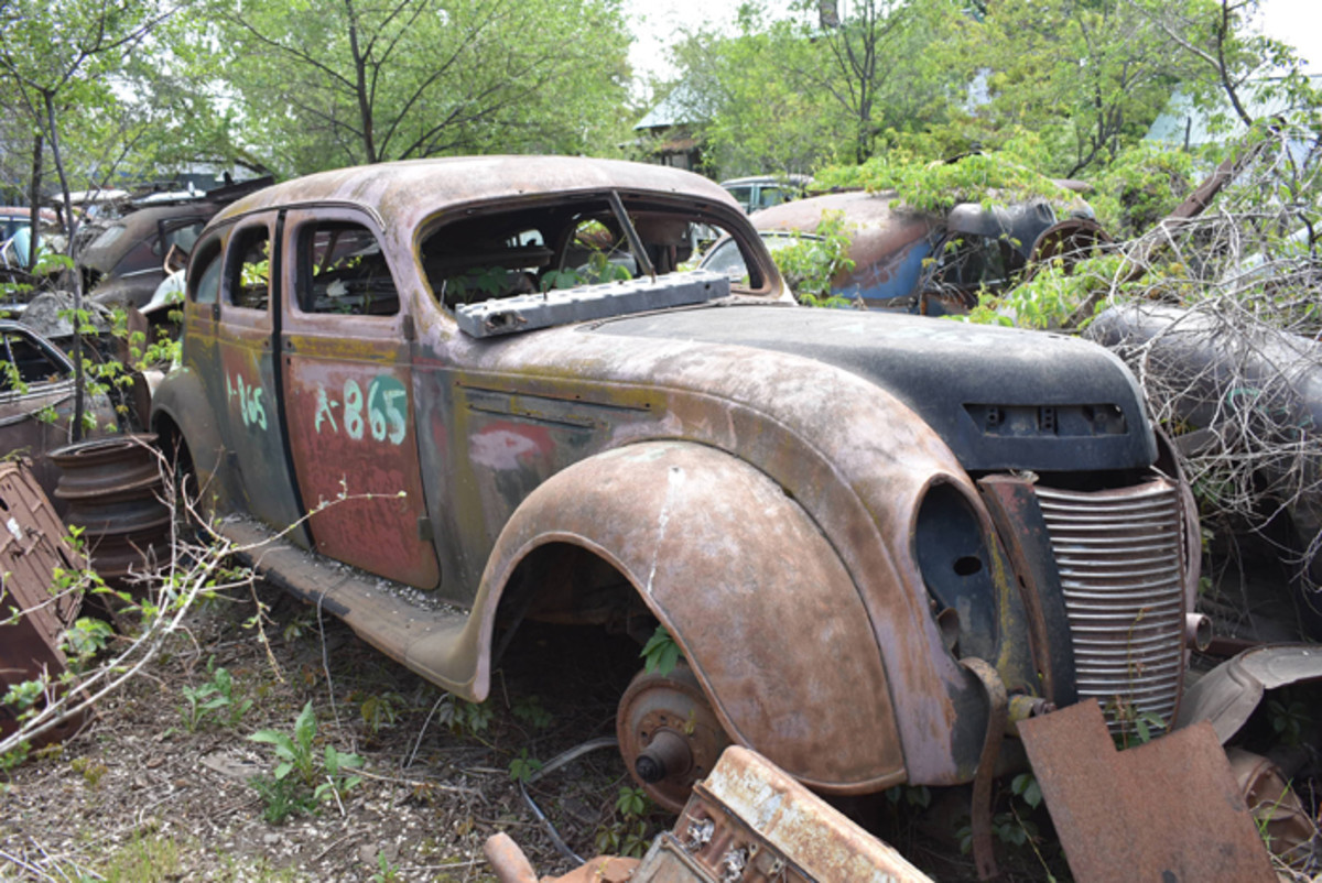 Even though it's well picked over, it was still interesting to find a 1935 Chrysler Imperial Airflow in a parts yard.