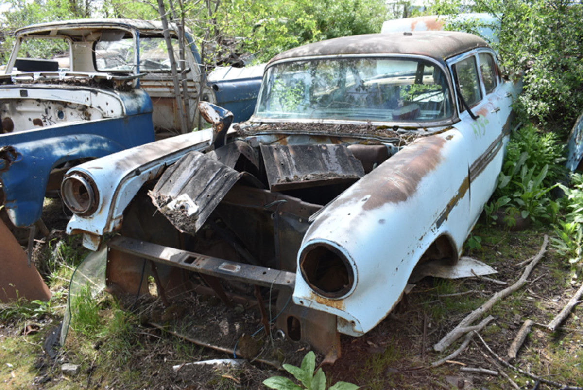 Solid fenders and additional sheet metal remain on this 1957 Pontiac Chieftain sedan.