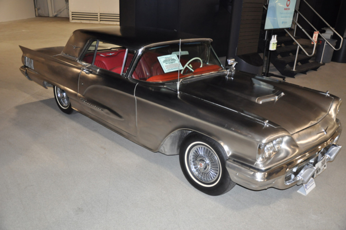 One of two produced, this 1960 Ford Thunderbird features a body clad in stainless-steel which includes the massive front and rear bumpers.