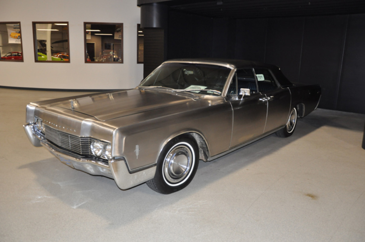 The last stainless-steel car created by Allegheny-Ludlum is this one and only 1966 Lincoln Continental convertible sedan, which has been owned by the company since new