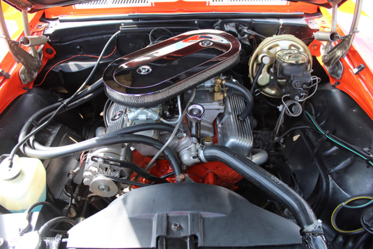 """Under the hood of this car is a 302 small-block look-alike called a """"Little Wolf,"""" which was substituted to help preserve its stock stock 302. Storch, who blew the original engine in the car back in 1971, calls the current V-8 his """"play engine."""" He still has a correct 302 on a stand in his garage."""