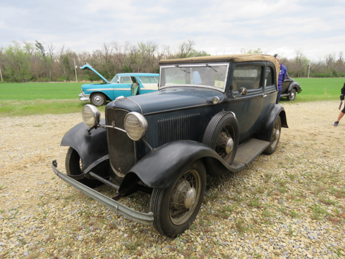 One of two 1932 Ford B400 two-door convertible sedans offered in the sale of the Regehr collection. Both were export models and both are solid, restorable left-hand drive models.