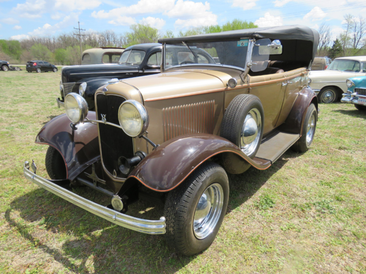 This right-hand-drive 1932 Ford phaeton has a stamp on the dash proclaiming it to be a product of the British Empire. Regehr apparently bought the car in Tulsa, Okla., from an Australian man.