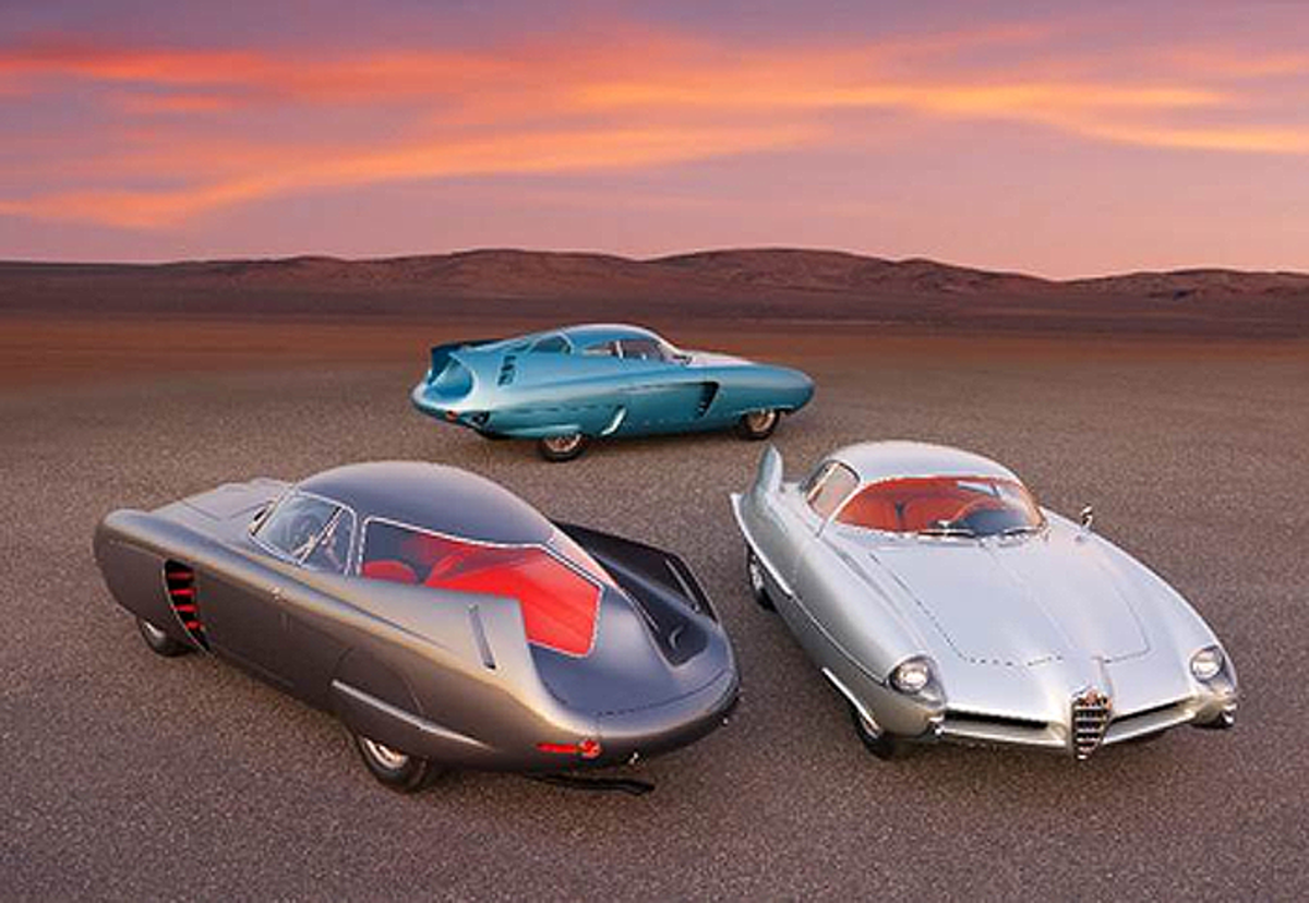 A group shot of the Alfa Romeo Berlina Aerodinamica Tecnica Concepts