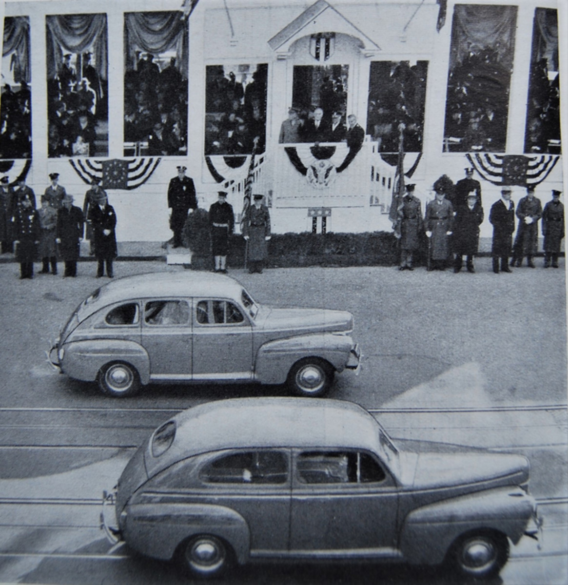 The cars included light-colored 1941 Tudor and Fordor Sedans.