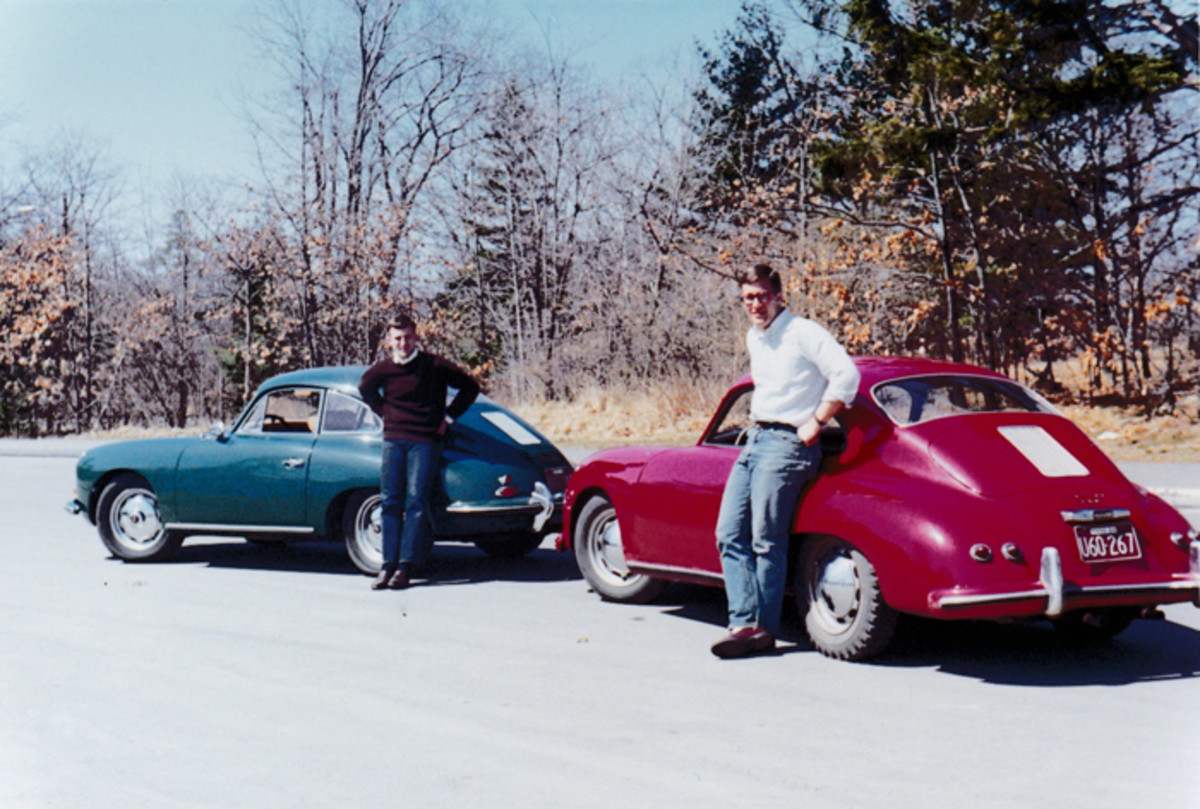 Here I am in 1965 (left) with my brother Pete and our 356s. Mine was a '61 Super 90 with a Bursch exhaust and Koni shocks; Pete's was a stock 356 Normal. He was a starving student at Harvard Med, so those rear snow tires were all he could afford. I'd like to have my old Fjord Green coupe back; I already know how I'd turn it into a mild Outlaw.