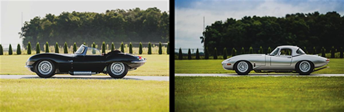 LEFT: 1957 Jaguar XKSS Continuation RIGHT: 1963 Jaguar E-Type Lightweight Continuation