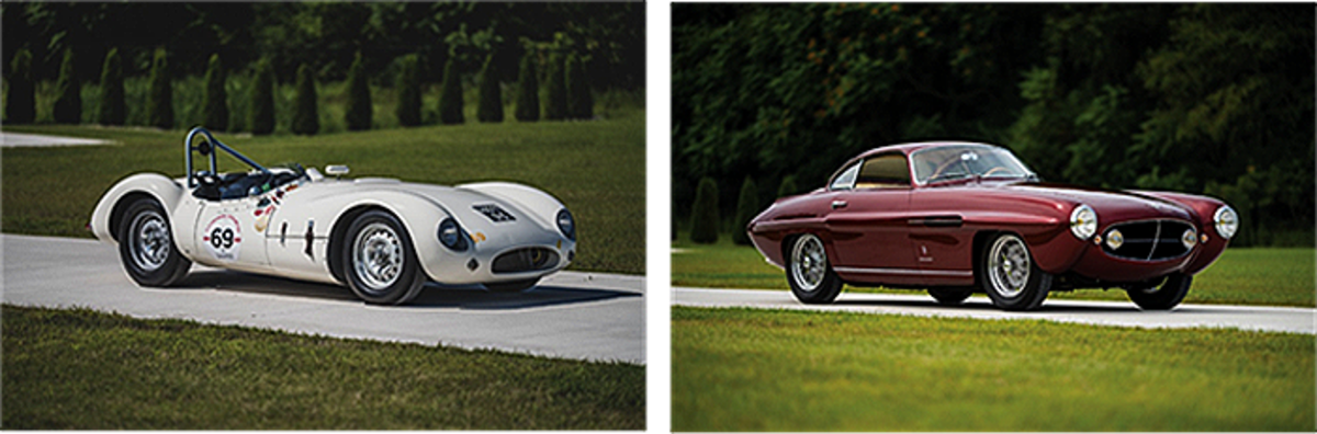 LEFT: 1955 Cooper-Jaguar T38 Mk II RIGHT: 1953 Fiat 8V Supersonic by Ghia