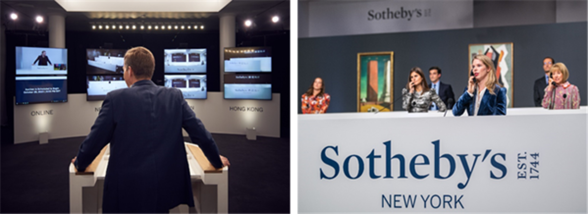 LEFT: Sotheby's auctioneer Oliver Barker at London salesroom (Photo - Michael Bowles, Getty © 2020 Courtesy of Sotheby's)RIGHT: Specialists taking bids in Sotheby's New York salesroom (Photo – © 2020 Courtesy of Sotheby's)