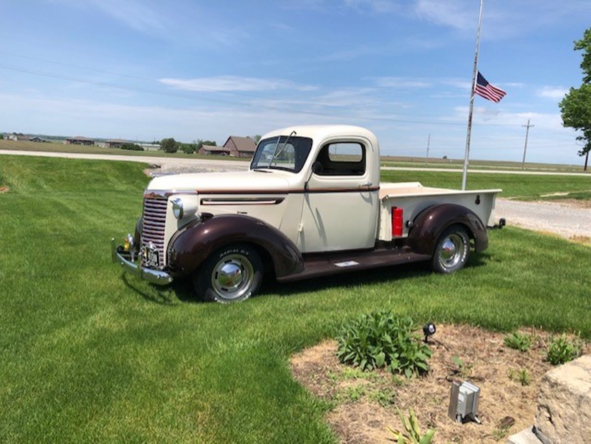 1940 Chevy pickup, pulled out of a corn crib and restored over 3 winters, 350 V8 with R700 trans