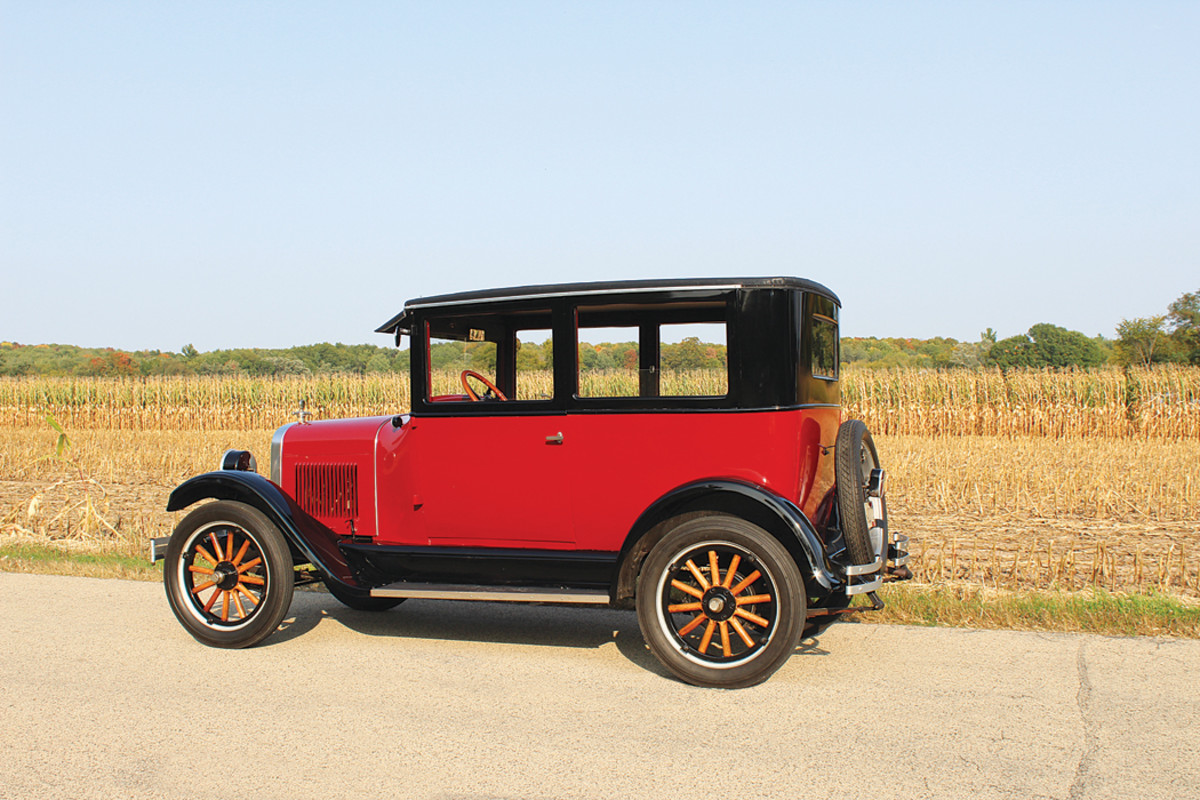 The smooth-running four-cylinder in Doug Knuth's 1926 is actually from a 1927 Chevy — the original engine died a noble death on the road a few years back.